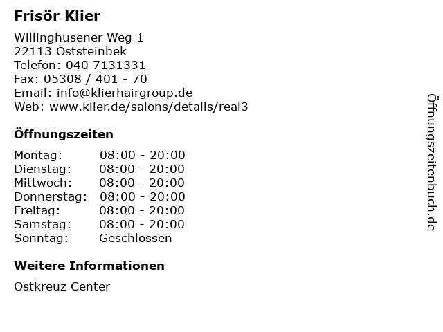 Frisör Klier GmbH in Oststeinbek: Adresse und Öffnungszeiten