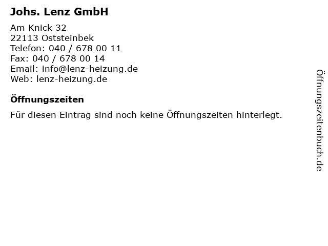Johs. Lenz GmbH in Oststeinbek: Adresse und Öffnungszeiten
