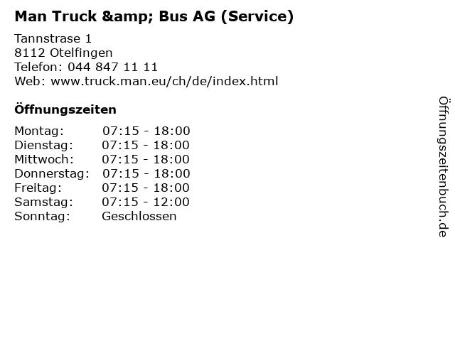 Man Truck & Bus AG (Service) in Otelfingen: Adresse und Öffnungszeiten