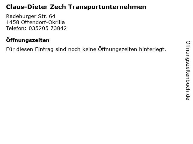 Claus-Dieter Zech Transportunternehmen in Ottendorf-Okrilla: Adresse und Öffnungszeiten