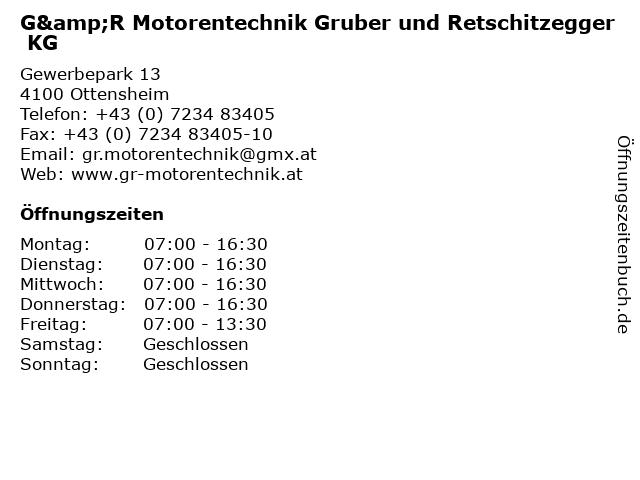 G&R Motorentechnik Gruber und Retschitzegger KG in Ottensheim: Adresse und Öffnungszeiten