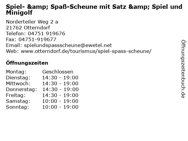 Spiel- & Spaß-Scheune mit Satz & Spiel und Minigolf in Otterndorf: Adresse und Öffnungszeiten