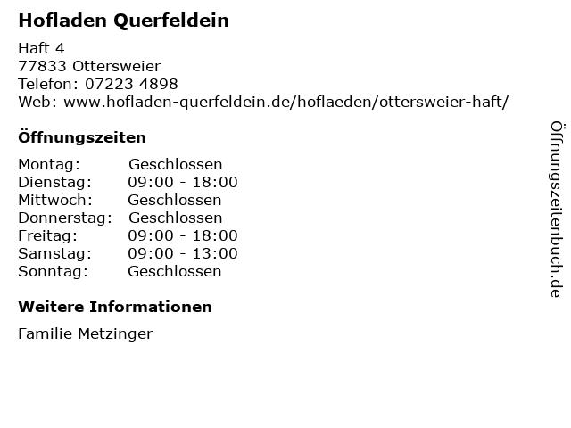 Hofladen Querfeldein in Ottersweier: Adresse und Öffnungszeiten