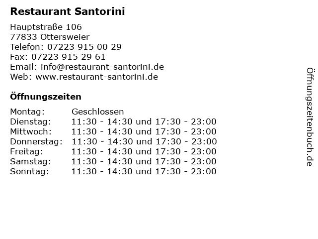 Restaurant Santorini in Ottersweier: Adresse und Öffnungszeiten