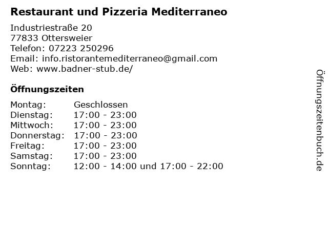 Restaurant und Pizzeria Mediterraneo in Ottersweier: Adresse und Öffnungszeiten
