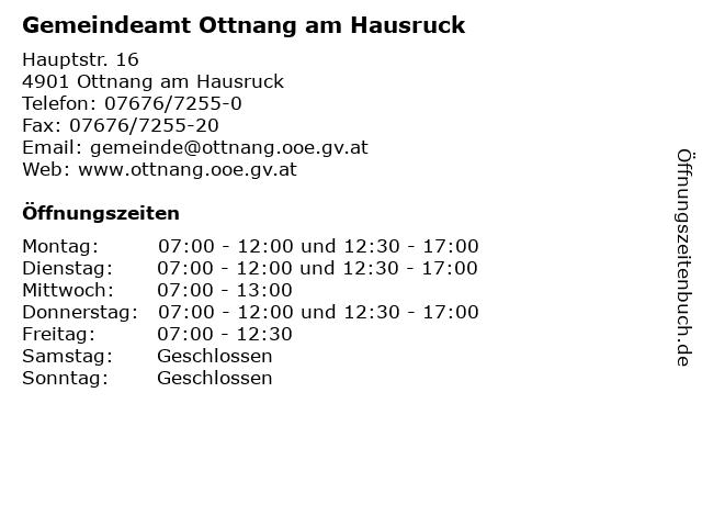 Gemeindeamt Ottnang am Hausruck in Ottnang am Hausruck: Adresse und Öffnungszeiten