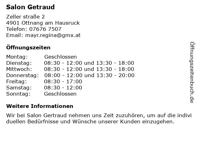 Salon Getraud in Ottnang am Hausruck: Adresse und Öffnungszeiten