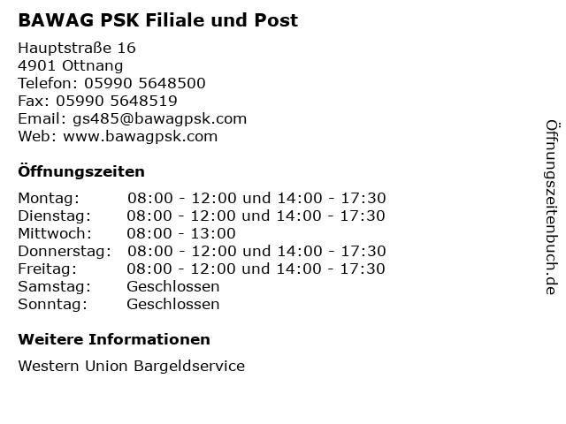BAWAG PSK Filiale und Post in Ottnang: Adresse und Öffnungszeiten