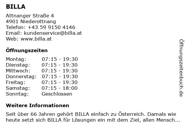 Billa in Ottnang: Adresse und Öffnungszeiten