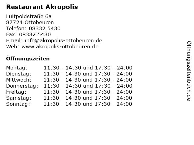 Restaurant Akropolis in Ottobeuren: Adresse und Öffnungszeiten