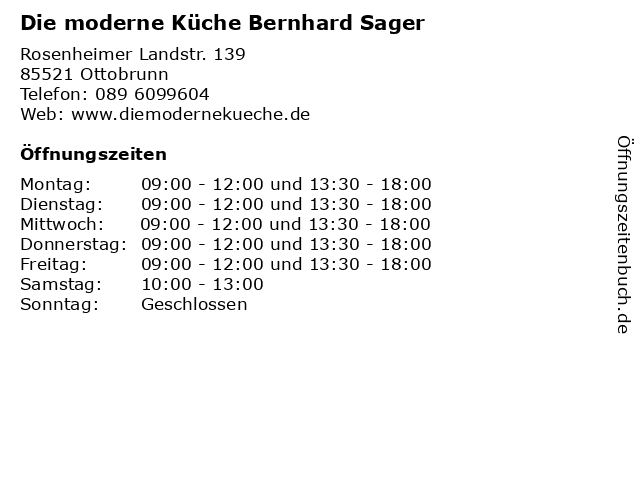 ᐅ Offnungszeiten Die Moderne Kuche Bernhard Sager Rosenheimer