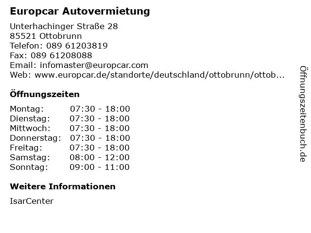 Europcar Autovermietung in Ottobrunn: Adresse und Öffnungszeiten