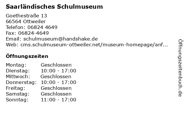 Saarländisches Schulmuseum in Ottweiler: Adresse und Öffnungszeiten