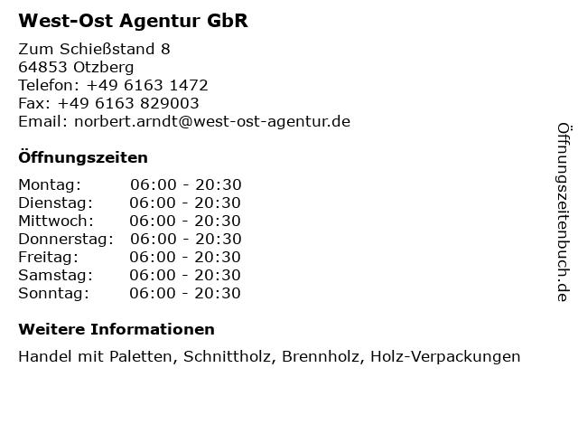 West-Ost Agentur GbR in Otzberg: Adresse und Öffnungszeiten