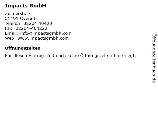 Impacts GmbH in Overath: Adresse und Öffnungszeiten