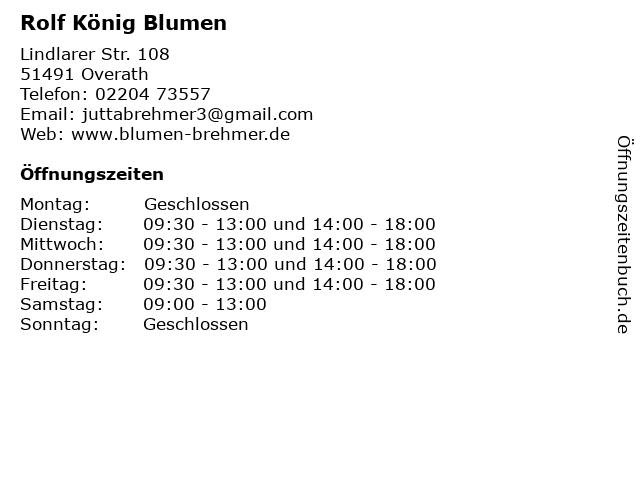 Rolf König Blumen in Overath: Adresse und Öffnungszeiten