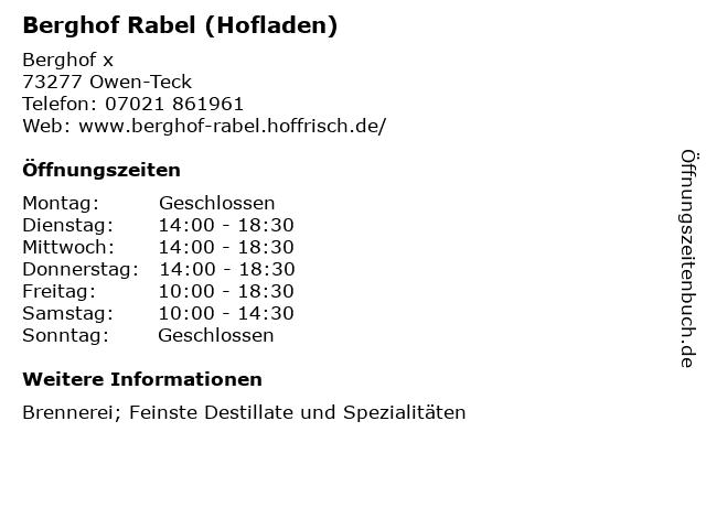 Berghof Rabel (Hofladen) in Owen-Teck: Adresse und Öffnungszeiten