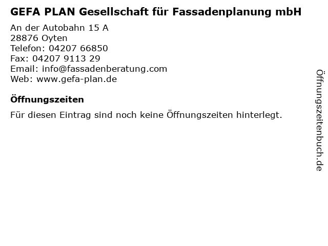 GEFA PLAN Gesellschaft für Fassadenplanung mbH in Oyten: Adresse und Öffnungszeiten