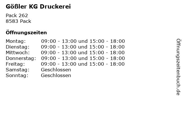 Gößler KG Druckerei in Pack: Adresse und Öffnungszeiten