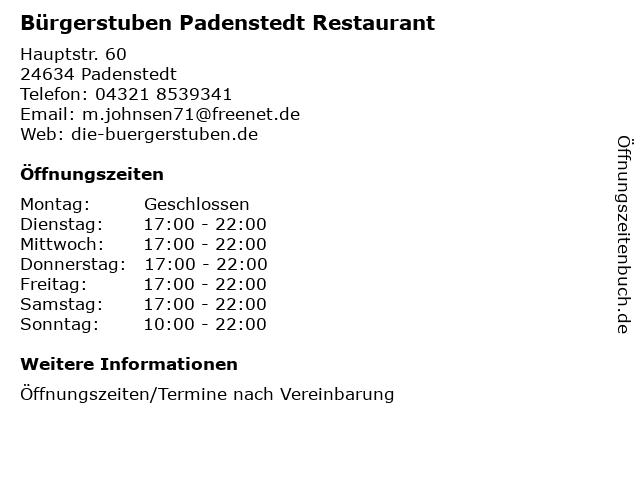 ᐅ öffnungszeiten Bürgerstuben Padenstedt Restaurant Hauptstr