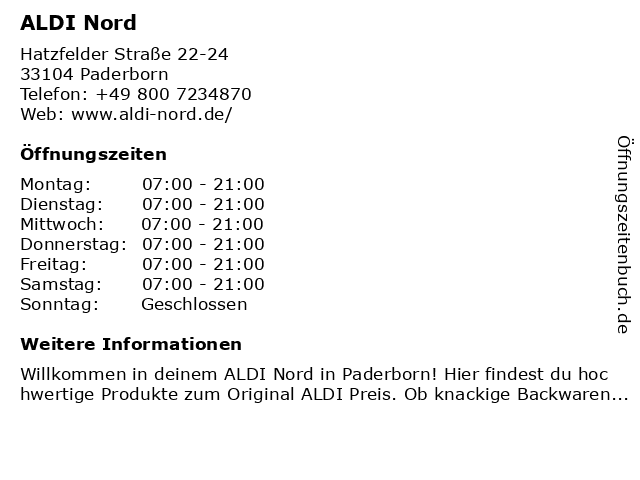 ALDI Nord in Paderborn: Adresse und Öffnungszeiten