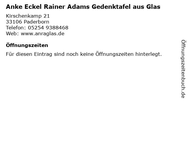 Anke Eckel Rainer Adams Gedenktafel aus Glas in Paderborn: Adresse und Öffnungszeiten