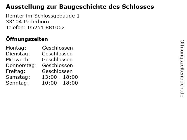 Ausstellung zur Baugeschichte des Schlosses in Paderborn: Adresse und Öffnungszeiten