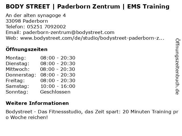 BODY STREET | Paderborn Zentrum | EMS Training in Paderborn: Adresse und Öffnungszeiten