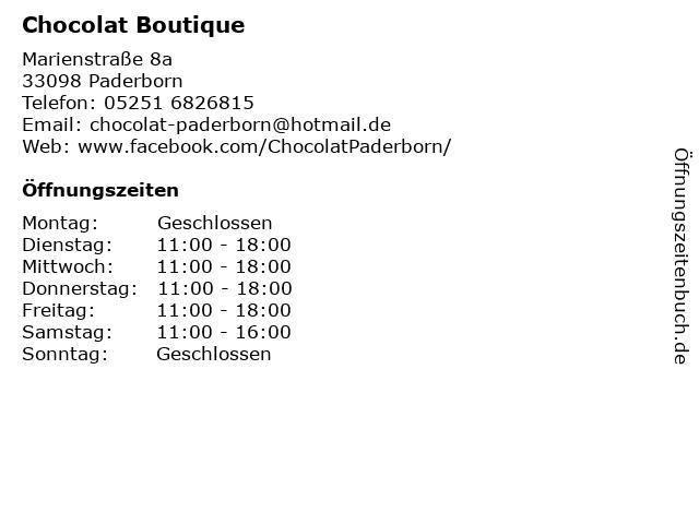 Chocolat Boutique in Paderborn: Adresse und Öffnungszeiten