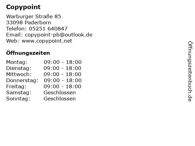 Copypoint in Paderborn: Adresse und Öffnungszeiten