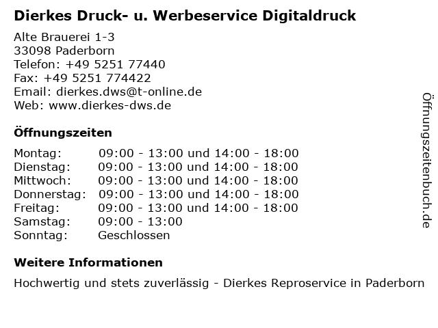 Dierkes Druck- u. Werbeservice Digitaldruck in Paderborn: Adresse und Öffnungszeiten