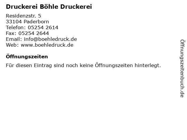 Druckerei Böhle Druckerei in Paderborn: Adresse und Öffnungszeiten