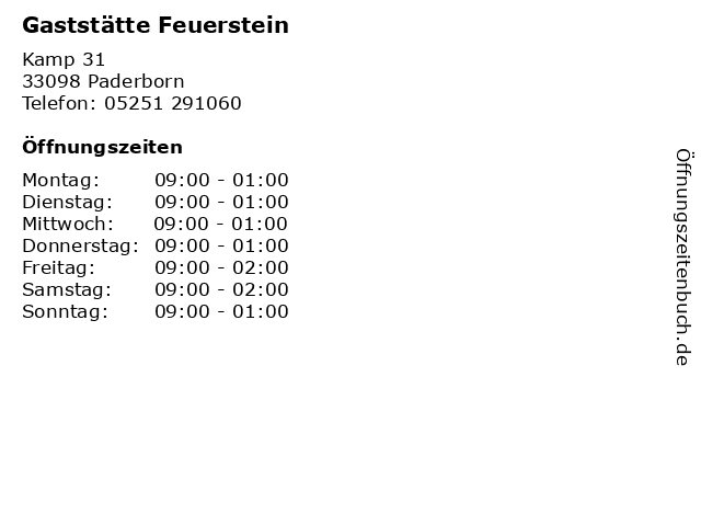 Gaststätte Feuerstein in Paderborn: Adresse und Öffnungszeiten