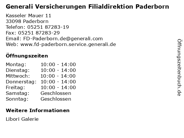 ᐅ Offnungszeiten Generali Versicherungen Filialdirektion Paderborn