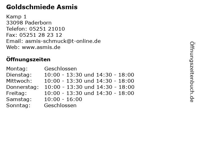 Goldschmiede Asmis in Paderborn: Adresse und Öffnungszeiten