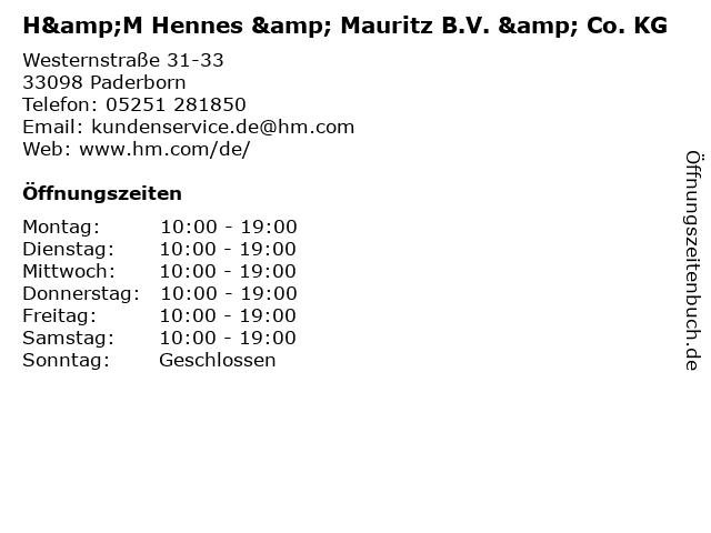 H&M Hennes & Mauritz B.V. & Co. KG in Paderborn: Adresse und Öffnungszeiten