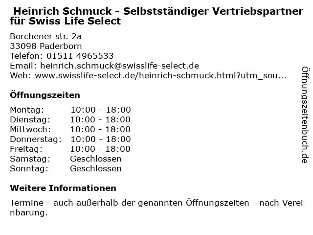 Heinrich Schmuck - Selbstständiger Vertriebspartner für Swiss Life Select in Paderborn: Adresse und Öffnungszeiten