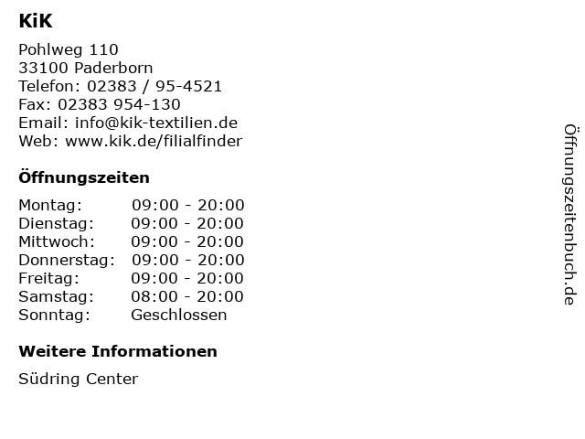KiK Textilien und Non-Food GmbH in Paderborn: Adresse und Öffnungszeiten