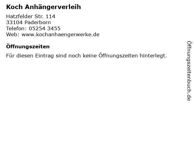 Koch Anhängerverleih in Paderborn: Adresse und Öffnungszeiten