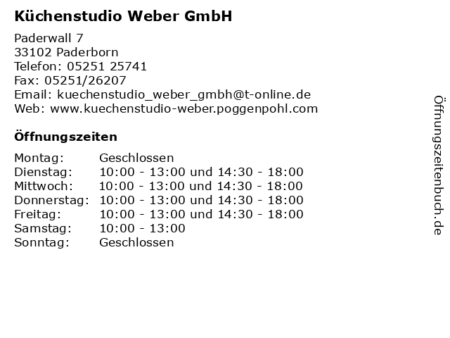ᐅ Offnungszeiten Kuchenstudio Weber Gmbh Paderwall 7 In Paderborn