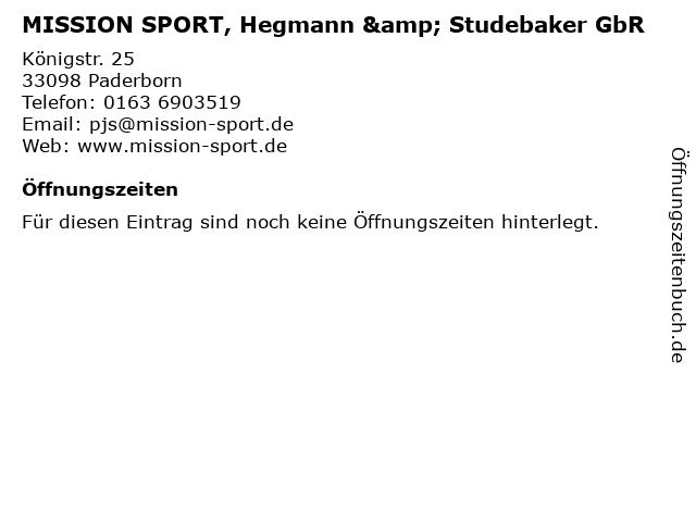 MISSION SPORT, Hegmann & Studebaker GbR in Paderborn: Adresse und Öffnungszeiten