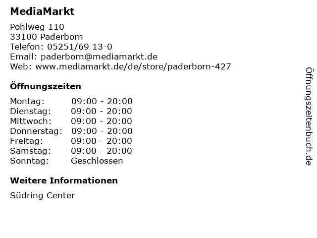 Media Markt TV-HiFi-Elektro GmbH in Paderborn: Adresse und Öffnungszeiten