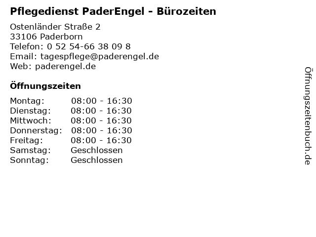 Pflegedienst PaderEngel - Bürozeiten in Paderborn: Adresse und Öffnungszeiten