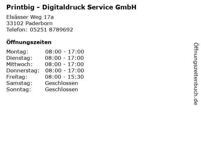 Printbig - Digitaldruck Service GmbH in Paderborn: Adresse und Öffnungszeiten