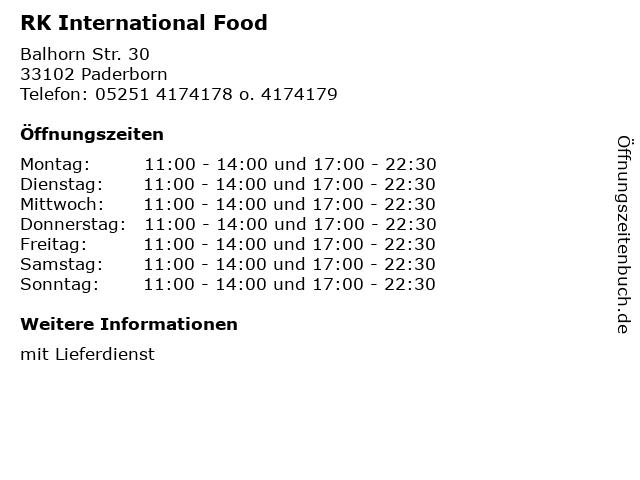 RK International Food in Paderborn: Adresse und Öffnungszeiten