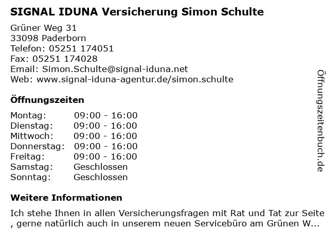 SIGNAL IDUNA Versicherung Simon Schulte in Paderborn: Adresse und Öffnungszeiten