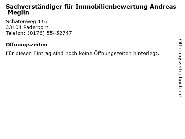 Sachverständiger für Immobilienbewertung Andreas Meglin in Paderborn: Adresse und Öffnungszeiten