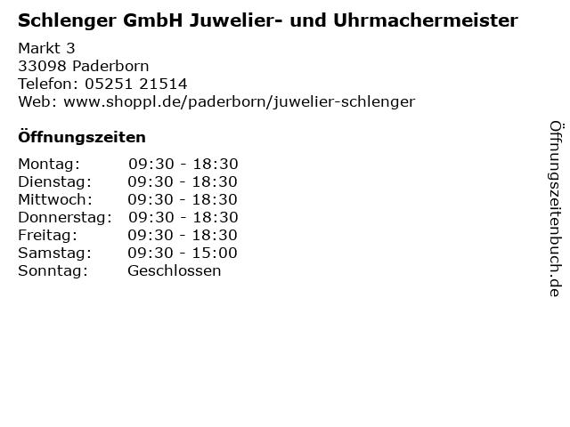 Schlenger GmbH Juwelier- und Uhrmachermeister in Paderborn: Adresse und Öffnungszeiten
