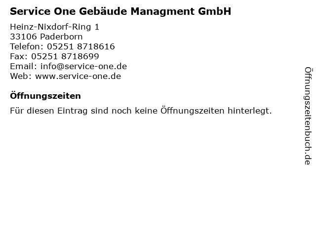 Service One Gebäude Managment GmbH in Paderborn: Adresse und Öffnungszeiten