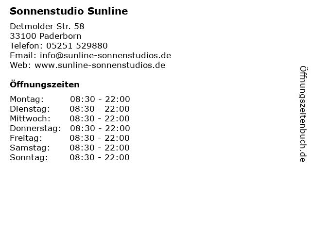 Sonnenstudio Sunline in Paderborn: Adresse und Öffnungszeiten